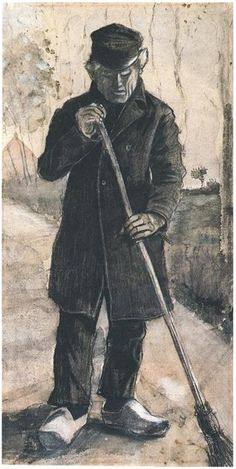 Vincent van Gogh Man with Broom Watercolor