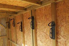 Hooks in a vertical bike shed