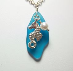 Blue Sea Glass Necklace Seahorse Beach Jewelry by PearlsForGirlz, $22.00