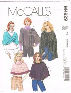 McCalls 4929  2000s Sewing Pattern  Misses' Capes