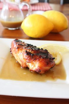 Grilled chicken topped with a lemon balsamic vinegar.