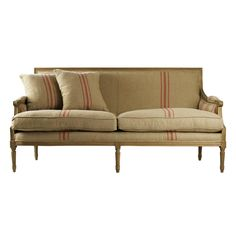 St. Germain French Style Red Stripe Linen Louis XVI Sofa | Kathy Kuo Home