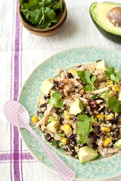Eat Yourself Skinny!: BBQ Chicken Quinoa Salad {made for lunch thruout week. used 1c dry quinoa, 1 can each corn & beans, 1/2 red onion, 2 diced tomatoes, cilantro. Cooked 2 20-min chicken breasts, shredded & coated in BBQ sauce. Chopped avocado & mashed into individ dish before serving, w/ extra BBQ sauce on top. Served warm. So good!!}
