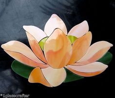 Lotus Waterlily pre cut stained glass mosaic inlay kit. Beautiful addition to your mosaic project. Many original designs selling on ebay.