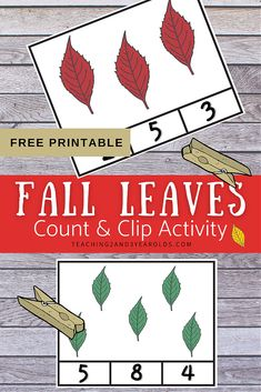 This leaves count and clip activity is a fun way to work on math skills during the fall theme! #fall #autumn #leaves #printable #circletime #prop #puppet #teachers #2yearolds #3yearolds #teaching2and3yearolds Fall Activities For Toddlers, Lesson Plans For Toddlers, Apple Activities, Counting Activities, Hands On Activities, Preschool Math, Kindergarten Activities, Fun Math, Printable Cards