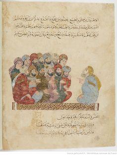 Les Makamat de Hariri ; exemplaire orné de peintures exécutées par Yahya ibn Mahmoud ibn Yahya ibn Aboul-Hasan ibn Kouvarriha al-Wasiti. | Gallica