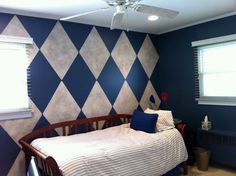 Harlequin wall paint idea....for one wall of living room? Or stairwell?