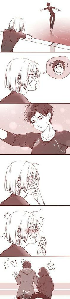 Vikturri is endgame, but this is adorable. Yurio is a bit young for Yuri, though. He's which is pretty unbelievable. Yuri Plisetsky, Fanarts Anime, Manga Anime, Geeks, Victor Y Yuri, Yuri On Ice Comic, Anime Plus, Yuri!!! On Ice, Katsuki Yuri