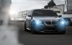 Download wallpapers E60, BMW M5, tuning, headlights, road, black M5, BMW