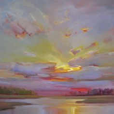 """Late Day Whispers"" by Holly Ready. 30"" x 30"" Oil on Canvas. Available at Maine Art Paintings & Sculpture. #maineart #sunset #art"