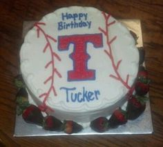 Texas Ranger Cake. Made one a little different for groom's cake. My daughter made T and stitches out of red candy melts, put red & black Sixlets around bottom and added black chocolate baseball gloves with Mr. and Mrs. written on them! So sweet! B
