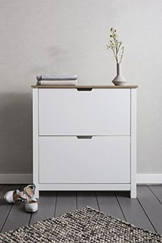 Tromso Shoe Storage Unit 2 Drawer in White and Natural Shoe Cabinet for sale Hallway Shoe Storage, Shoe Storage Unit, Entryway Bench Storage, Shoe Storage Cabinet, Storage Cabinets, Shoe Cupboard, Diy Storage, Small Bench Seat, Dining Bench Seat
