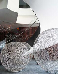 Circle Wire Balls by Gold Leaf Design Group Gold Leaf Design Group, Entrance Design, Art For Art Sake, Land Art, Wire Art, Public Art, Installation Art, Metal Art, Sculpture Art