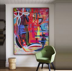 Silvi Series - Kerry Armstrong Art | large oversized abstract colorful original painting | modern artwork | hallway with green contemporary chair #abstractart