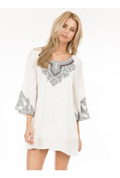 3/4 BELLE SLEEVE, EMBROIDERED DRESS