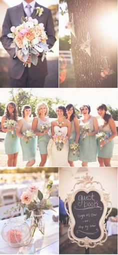 Beautiful Spring #wedding colors! Love the #Bridesmaids dresses and bouquet. #Love