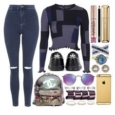 """nightmare"" by iriskatarina ❤ liked on Polyvore featuring Topshop, Urban Decay, NARS Cosmetics, Guerlain, Effy Jewelry, Blackbird and the Snow, MUNNU The Gem Palace, adidas, Chanel and Ray-Ban"
