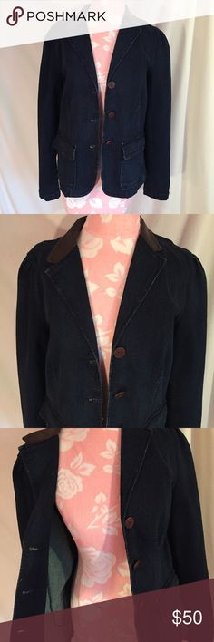 Ralph Lauren Jeans Jacket -*new This button down jeans jacket by LRL (Lauren Ralph Lauren Jeans co.) is brand new and never been worn! Has a leather collar giving it a retro-modern vibe! Lauren Ralph Lauren Jackets & Coats Jean Jackets