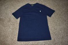 Polo Ralph Lauren Boys Crewneck Navy Blue Short Sleeve T Shirt Tee W/ Pony Small #RalphLauren #Everyday