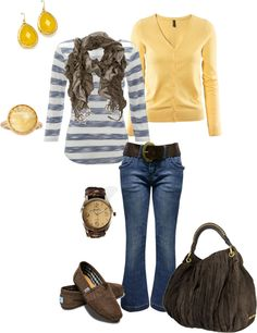 """Blue and yellow"" by kaybraden on Polyvore"