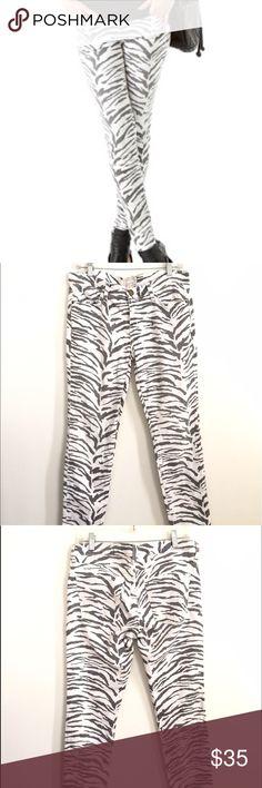 Current Elliot white zebra print jeans Current Elliot grey and white zebra print jeans. Perfect condition! Current/Elliott Jeans Skinny
