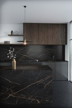 From Cosentino's Dekton range of ultracompact surfaces, Laurent features features a dramatic dark brown background crisscrossed with veins of gold. Kitchen Room Design, Luxury Kitchen Design, Home Decor Kitchen, Interior Design Kitchen, Modern Interior Design, Interior Decorating, 60s Kitchen, Modern Kitchen Cabinets, Wood Cabinets