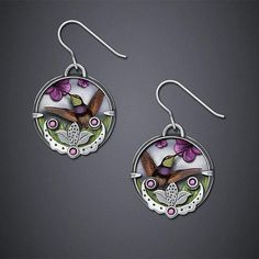 Hummingbird Earrings: Dawn Estrin: Silver Earrings - Artful Home