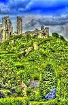 Ruins of Corfe Castle near Dorset, England