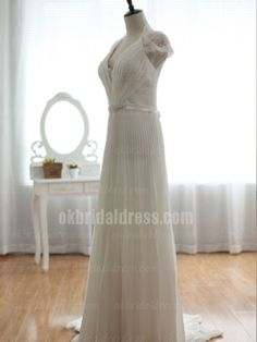 affordable long elegant white backless lace wedding dress | Cheap full length Sale