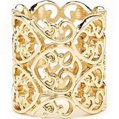Like the lace/basket weave and width. Forever 21 Gold Ornate Filigree Ring