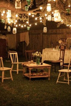 Like a romantic 80's movie, this shabby chic garden set up is lush with eclectic outdoor lighting. Vintage and rustic DIY bulbs blend effortlessly as they light up the night.