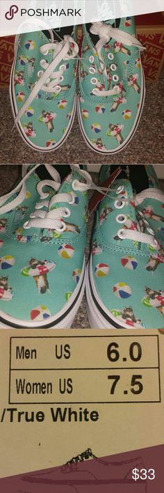 Vans sneakers (unisex) BRAND NEW- (pool vibes) aqua/true white, authentic style... women's size 7.5, men's size 6.0 Vans Shoes Sneakers