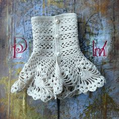 Romantic Lace Crochet Cuffs Ecru White Cotton Pearls by twoknit