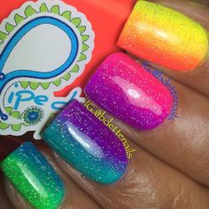 Bright nails neon, bright nails for summer, neon nails, neon nail art Bright Nails Neon, Summer Nails Neon, Neon Nails, Diy Nails, Bright Nails For Summer, Short Nail Designs, Toe Nail Designs, Nail Polish Designs, Rainbow Nail Art Designs