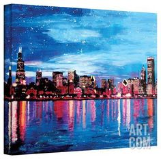 'Chicago Skyline at Dusk' Gallery-Wrapped Canvas Stretched Canvas Print by Martina Bleichner at Art.com