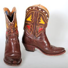 Brown Acme Cowboy Boots Vintage Mens sz 8D