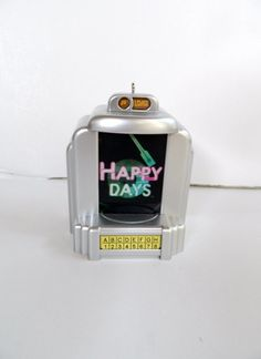 Happy Days Jukebox Hallmark Keepsake Ornament, 2013 - Plays the Happy Days theme song. I bought this ornament on E-Bay.