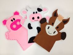 Set of 3 hand puppets on Etsy, £18.00