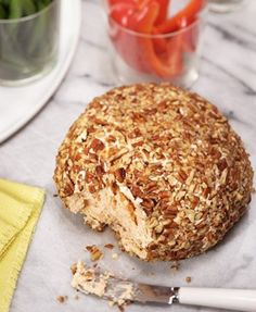 A perfect snack to serve at holiday gatherings, this pecan-coated cheese ball is a party favorite. Tapas, Cheese Ball Recipes, Appetizer Recipes, Dip Recipes, Potato Recipes, Vegetable Recipes, Dinner Recipes, Yummy Treats, Yummy Food