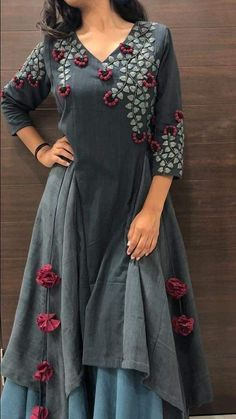 Indian Style kurta dress With palazzo newTopTunic Set blouse Combo Ethnic Bottom Kurta Designs Women, Salwar Designs, Kurti Designs Party Wear, Printed Kurti Designs, Embroidery On Kurtis, Kurti Embroidery Design, Embroidery Dress, Designer Kurtis, Designer Anarkali