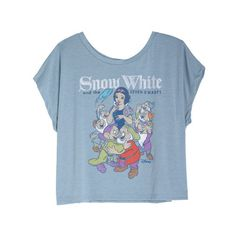 Snow White Tee ($9.99) ❤ liked on Polyvore featuring tops, t-shirts, shirts, tees, graphic tees, blue t shirt, t shirts, blue shirt and graphic print t shirts