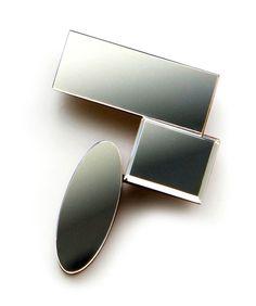 KIRAYURINA. Brooch: Mirror, 2012. Acrylic mirror, wood  5,6 x 4.3 x 1.5 cm