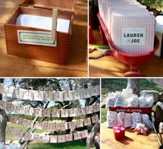 cute wedding accessories - programs, place cards w/ number in envelope, note box