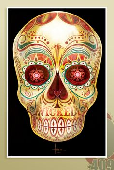 HOB NOB WICKED WINE SKULL by ©Orlando Arocena 2012, via Behance  MIXED-DIGITAL ( corel painter, illustrator)