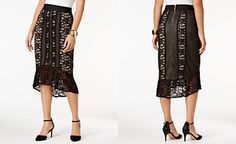 Thalia Sodi Lace Flounce High-Low Skirt, Only at Macy's