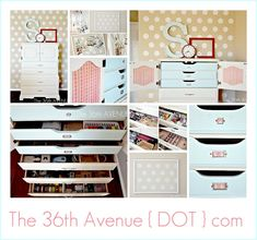 Where did this little dresser/chest come from? Love all those shallow drawers. The 36th AVENUE | My Craft Room Tour