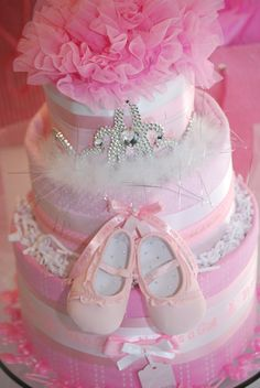 Pink Princess Baby Diaper Cake by AmazingBoutiqueC on Etsy, $69.00