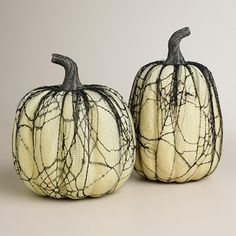 white lace pumpkins Decorating for Halloween with Skulls & White Pumpkins