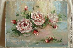 Картины цветов ручной работы. Ярмарка Мастеров - ручная работа. Купить розы живопись маслом. Handmade. Розовый, картина для интерьера