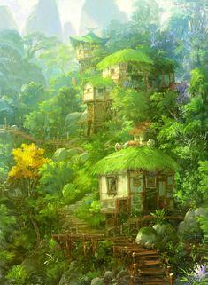 Forest shack by Jae Cheol Park (Paperblue) Fantasy Forest, Fantasy City, Fantasy Places, Fantasy World, Dream Fantasy, Forest Art, Fantasy Concept Art, Fantasy Artwork, Fantasy Art Landscapes